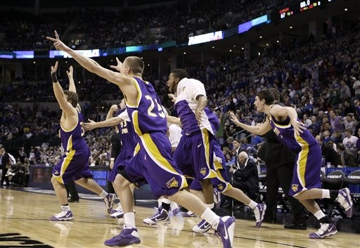 Northern Iowa upsets Kansas in the 2010 NCAA Mens College Basketball Tournament.