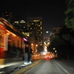 San Francisco cable car at night.
